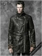 Gothic Steampunk Biker Aviator Military Vintage Leather Look Winter Coat Y-487