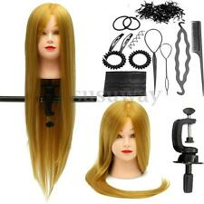 26'' Human Hair Training Practice Head Mannequin Hairdressing + Braid Tool