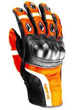Nerve KQ12 Motorradhandschuhe Motorrad Biker Leder Handschuhe Orange M Gr. 9