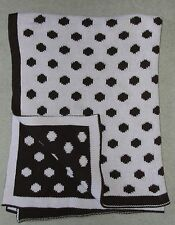 Under Cover Knitworks Baby Blanket Pink Brown Polka Dots Cotton Knit Reversible