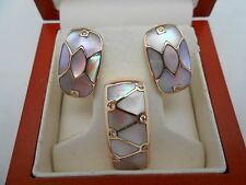 Gorgeous 14k Solid Rose Gold Diamond & Mother Of Pearl Pendant & Earrings Set