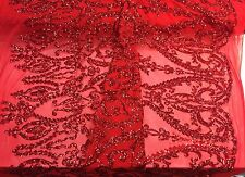 Red Royalty Design Embroider With Sequins On A 2 Way Stretch Mesh-yard