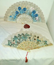 2 VINTAGE GINER Abanicos HAND PAINTED LADIES FLORAL Fans Asian & Floral Theme