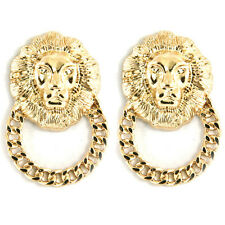 Large Gold Lion Head Door Knocker Earrings Celebrity Fashion Studs UK