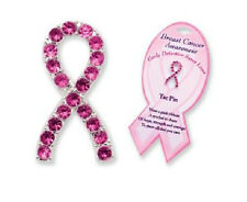 PINK RIBBON CRYSTAL BREAST CANCER TAC PIN Lapel Awareness Support Women Tack NEW