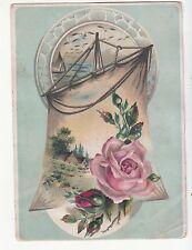 Pink Rose Sail Sailboat No Advertising Vict Card c 1880s