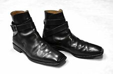 Auth LOUIS VUITTON Black Leather Laceless Buckle Strap Ankle Boot Shoes Size 6.5