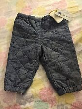 NWT BABY GAP UNISEX PEANUTS CHARLIE BROWN QUILTED CHAMBRAY PANTS SIZE 3-6M