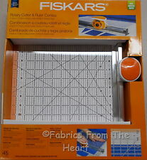 """Fiskars Rotary Cutter & Ruler 12""""X12"""" Acrylic 45mm Blade for Fabric 2 in 1 Tool"""