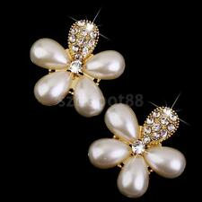 10 Pearl Diamante Crystal Flower Buttons Flatback Craft Embellishment Gold