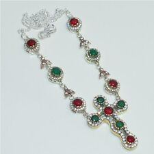 SILVER &SOLID BRASS FACETED RUBY,EMERALD CROSS TURKISH NECKLACE JEWELRY D03673