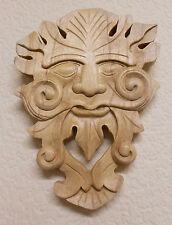 Placa de pared de madera Madera Tallada a Mano Verde Hombre asistente Decorativo Pared Colgante OVA
