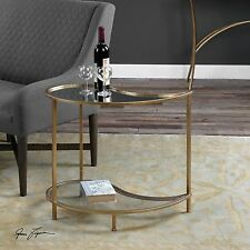 """NEW 28"""" ANTIQUE GOLD METAL TEARDROP ACCENT SIDE END TABLE GLASS SHELF MIRROR TOP"""