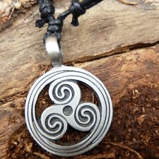 Spiral Triskelion Triskele Wheel Norse Pewter Pendant Charm with Cotton Necklace