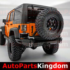 07-17 Jeep JK Wrangler Full Width HD Rear Bumper+Tire Carrier+Double Wrap-Plate