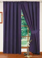 Pair of 100% Cotton Curtains Pencil Pleat Pair Curtains Fully Lined Ready Made