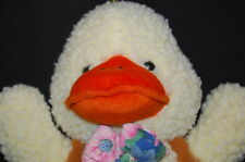 "Yellow Curly My Ducky Brown Fur Flower Bow Tie STUFFED ANIMAL LOVEY 17"" PLUSH"
