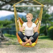 YELLOW ORANGE Hanging Rope Hammock Chair Swing Seat for Any Indoor or Outdoor