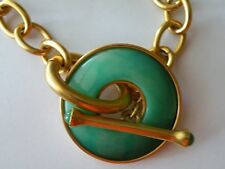 Kenneth Lane KJL Matt Gold Chain Necklace Green Toggle Pendant Choker