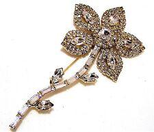 Vintage Butler Wilson Crystal Rhinestone Large Flower Pin Floral Brooch 317dgz