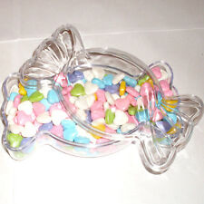 "Lot of 6 - Crystal Clear Acrylic Lucite Wrapped Candy Shaped Favor Box (6"" Long)"