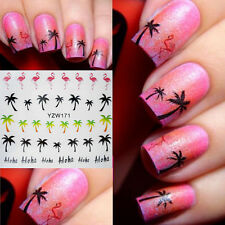 2pcs Nail Art Stickers eau Transferts Autocollants Palm Tree Flamingo Gel Polish