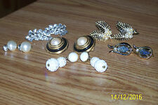 6 Vintage Pairs of Clip On Earrings - Monet, Emmons, B. David, Richeleu, Coro
