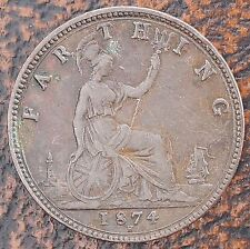 1874 H UK Great Britain Farthing KM# 753 Victorian Coin