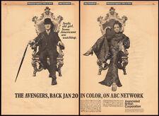 THE AVENGERS__Original 1967 Trade AD_poster_TV promo__DIANA RIGG__PATRICK MACNEE