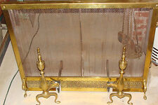 Vintage/Antique Peerless BRASS  fireplace screen with andirons & cleaning tools