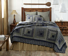 COLUMBUS King Quilt Navy Blue/Sage Green Primitive/Rustic Log Cabin Block