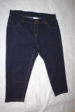 Womens DARK BLUE KNIT CAPRIS Denim Look MOCK FRONT Rear Pockets SIZE 2X 18W-20W