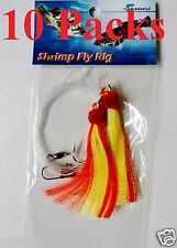 10 Packs Size 5/0 Shrimp Fly Rigs Red Yellow  Rockfish Bait Rigs