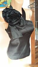 BNWT Karen Millen one shoulder halterneck flower black top size 14