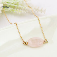 Women Fashion Oval Stone Copper Beads Pendant Gold Chain Necklace Jewelry