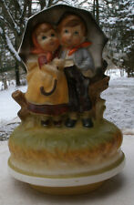 Vintage Boy & Girl w/ Umbrella Music Box,1960s,porcelain,Chadwick,rotates -kids