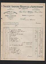 ÉPINAL, Rechnung 1927, Société Anonyme Régionale D'Alimentation en gros