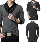 Fashion Men's Casual Slim Fit V-Neck Long Sleeve T-shirt Tops Tee Blouse Stylish