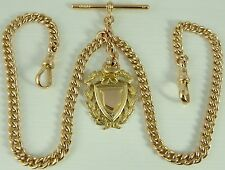 Antique 9ct rose gold 16 inch double albert watch guard chain with fob 46.6 gms