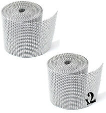 2 Pack / 20 Yard Silver DIAMOND MESH WRAP ROLL SPARKLE RHINESTONE Crystal Ribbon