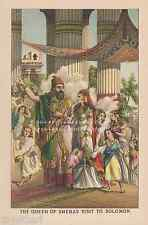 Queen Of Sheba's Visit To King Solomon-Gifts-1889 OLD ANTIQUE VINTAGE ART PRINT