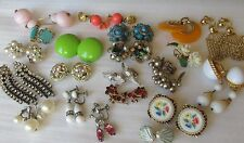 Lot - Vintage Clip & Screw-back Earrings: Mod, Clusters, Rhinestone, Faux Pearl