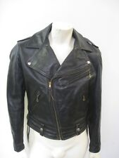 Vintage 1950s HORSEHIDE Black Leather Motorcycle Jacket Size 42