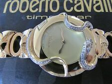 ICONIC ROBERTO CAVALLI GOLD PLATED S/S SNAKE 2H DIAMOND WATCH -RRP EU.1.000.00