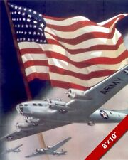 UNITED STATES BOMBER PLANE WWII PROPAGANDA POSTER PAINTING REAL CANVAS ART PRINT