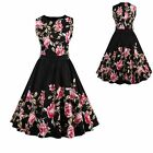 Vintage Black Women 50s Rockabilly Flowers Cocktail Party Evening Swing Dress