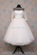 1547 short 50s 60s wedding dresses tea length knee polka dot tulle elbow SLEEVES