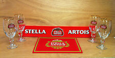 Stella Artois 33 cl Beer Glass & Spill Mat Bar Pack - 4 Glasses & 2 Bar Mats