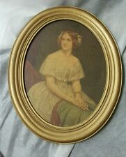"""Antique Oval Wood Picture Frame Holds 13 3/8"""" x 11""""  Gold w Print of Woman"""