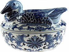 Blue And White Ceramic Oven Casserole Dish And Lid - Large Bird Design